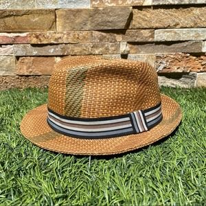 Henschel Hat Co. Woven Straw Striped Fedora Large